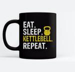 Eat Sleep Kettlebell Repeat Fitness Train Ceramic Coffee Black Mugs