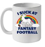 I Suck At Fantasy Football Unicorn Playing Football Mug