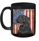 Black Labrador Retriever American Flag Duck Hunter Mug