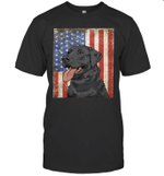 Black Labrador Retriever American Flag Duck Hunter Shirt