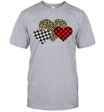 Funny Leopard And Buffalo Plaid Printed Love Heart Gifts Valentine's Day Shirt