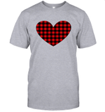 Buffalo Plaid Heart Shirt Womens Valentine's Day Shirt