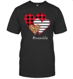 #Momlife Shirt Striped Leopard Buffalo Plaid Printed Splicing Heart Valentine's Day Shirt