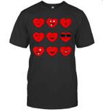 Heart Emojis Valentine's Day Funny Emoticons Boys Girls Kids Shirt