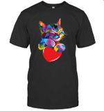 Cute Cat Gift For Kitten Lovers Colorful Art Kitty Adoption Valentine's Day Shirt
