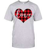 Red Buffalo Plaid Printed Love Heart Gifts Valentine's Day Shirt