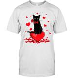 Black Cat Valentine's Day Shirt Boys Girls Valentine's Day Gift Shirt