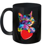 Cute Cat Gift For Kitten Lovers Colorful Art Kitty Adoption Valentine's Day Mug