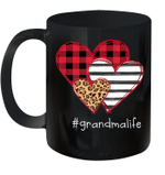 #Grandmalife Shirt Striped Leopard Buffalo Plaid Printed Splicing Heart Valentine's Day Mug