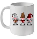 Three Gnomes Holding Hearts Leopard Valentine's Day Gift Mug