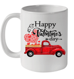 Happy Valentines Day Truck Carrying Love Heart Gifts Mug