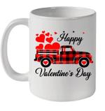 Happy Valentine's Day Heart Graphic Love Truck Buffalo Plaid Mug