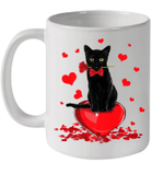 Black Cat Valentine's Day Shirt Boys Girls Valentine's Day Gift Mug