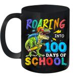 Dinosaur T-Rex Roaring Into 100 Days Of School Mug