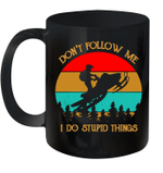 Don't Follow Me I Do Stupid Things Vintage Snowmobile Mug