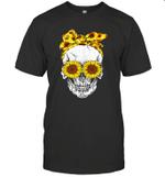 Skull Wears Sunflower Headband Shirt