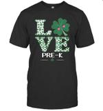 Love Shamrock Pre-K St Patrick's Day Teacher Shirt