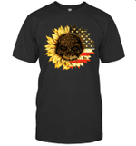 Leopard Print Skull In Sunflower American Flag Shirt