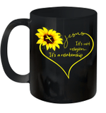 Sunflower Jesus Heart It's Not Religion It's A Relationship Mug
