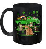 Leprechaun Driving Green Truck Cat St Patrick's Day Gift Mug
