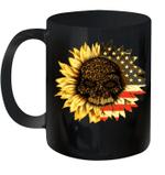 Leopard Print Skull In Sunflower American Flag Mug