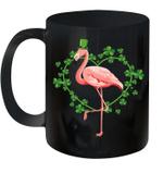 Flamingo Shamrock Heart Irish St Patrick's Day Funny Mug