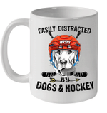 Easily Distracted By Dogs And Hockey Mug
