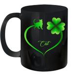 Cat Irish Shamrock St Patrick's Day Heart Mug