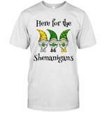 Here For The Shenanigans Gnome Shamrock St Patricks Day Shirt