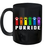 Purride Paw Cat Kitten Lgbt Gay Les Pride Rainbow Vintage Mug