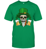 Skull Leprechaun Beer And Clover Leaves St Patrick's Day Shirt