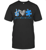 Peace Love Autism Puzzle Ribbon Autism Awareness Shirt