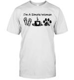 I'm A Simple Woman Flip Flops Coffee Dog Paw Shirt