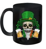 Skull Leprechaun Beer And Clover Leaves St Patrick's Day Mug