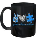 Peace Love Autism Puzzle Ribbon Autism Awareness Mug