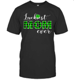 Luckiest Mommy Buffalo Plaid St Patrick's Day Lucky Shamrock Shirt