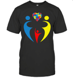 Autism Awarness Family Trio Heart Puzzle Gift Shirt