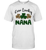 Funny One Lucky NaNa Leopard Plaid St Patrick's Day Gift Shirt