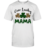 Funny One Lucky Mama Leopard Plaid St Patrick's Day Gift Shirt