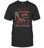 Stepping Into My Birthday June Girl Leopard Print Birthday Shirt