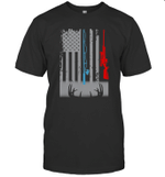 Fishing Rod Hunting Rifle American Flag Shirt