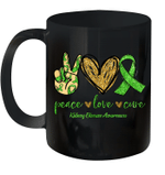 Peace Love Cure Kidney Disease Awareness Mug
