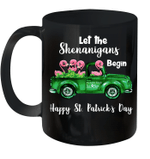 Let The Shenanigans Begin Flamingo Happy St Patrick's Day Mug