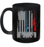 Fishing Rod Hunting Rifle American Flag Mug