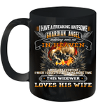 Skull I Have A Freaking Awesome Guardian Angel Watching Over Me In Heaven Mug