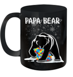 Papa Bear Autism Awareness Gift For Dad With Son Or Daughter Mug