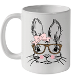 Easter Bunny Face Leopard Print Glasses Easter Gift Mug
