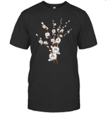 White Cat Willows Flowers Cat Floral Cats Lover Gift Shirt