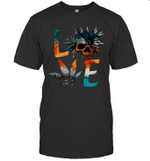 Love Weed Sunflower With Skull Love Cannabis Gift Hippie Shirt