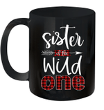 Sister Of The Wild One Buffalo Plaid Lumberjack 1st Birthday Mug